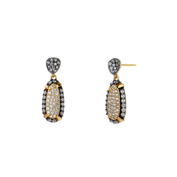 COMO TWO-TONE PAVE CZ  DROP EARRING