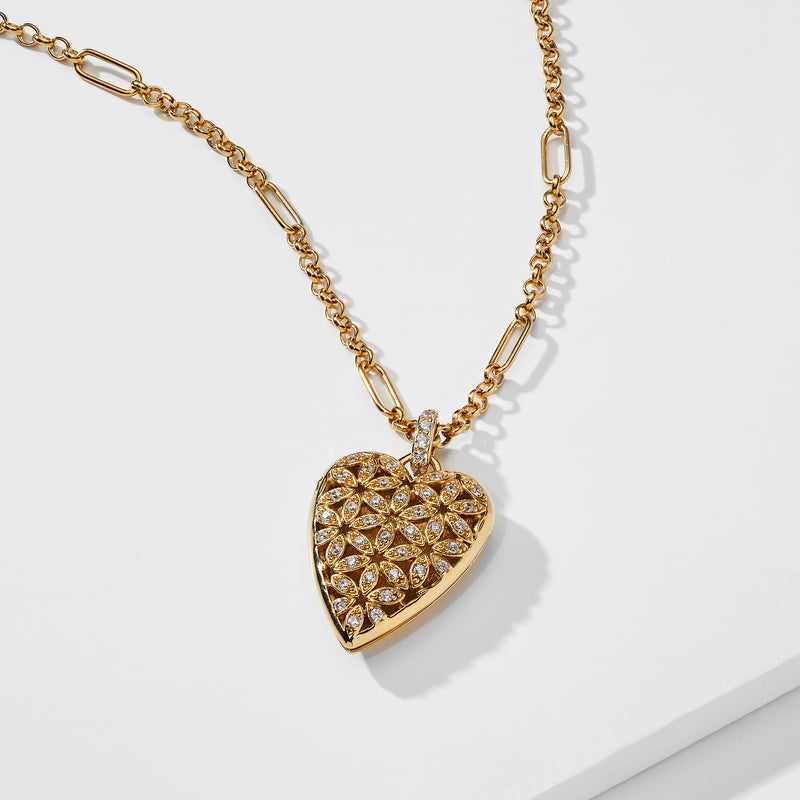 OPEN HEART LOCKET NECKLACE