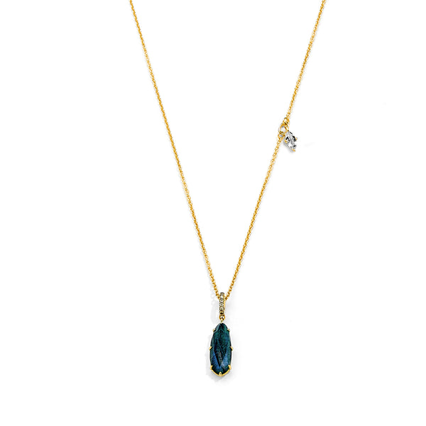 MARI LABRADORITE WHITE TOPAZ AND CZ ASYMMETRICAL PENDANT NECKLACE