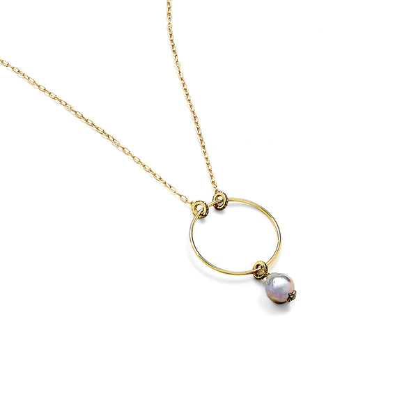 MARI GREY BAROQUE FRESHWATER PEARL LONG PENDANT NECKLACE