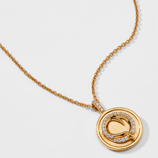 SNAKE MEDALLION PENDANT NECKLACE