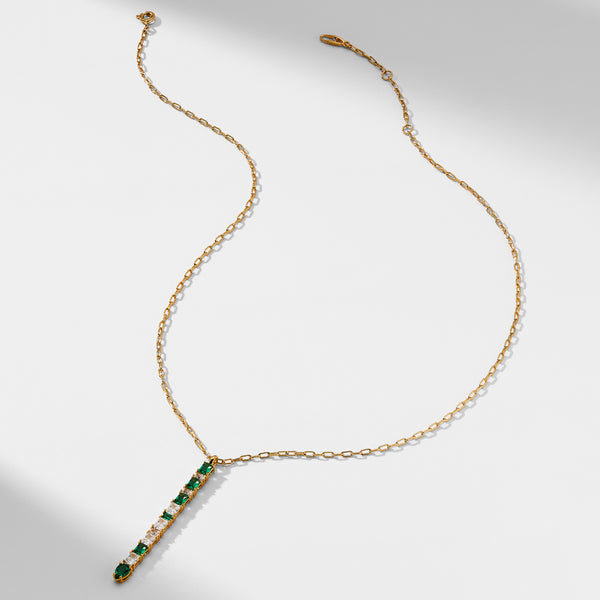 LUX CHAIN EMERALD AND CZ PENDANT Y NECKLACE
