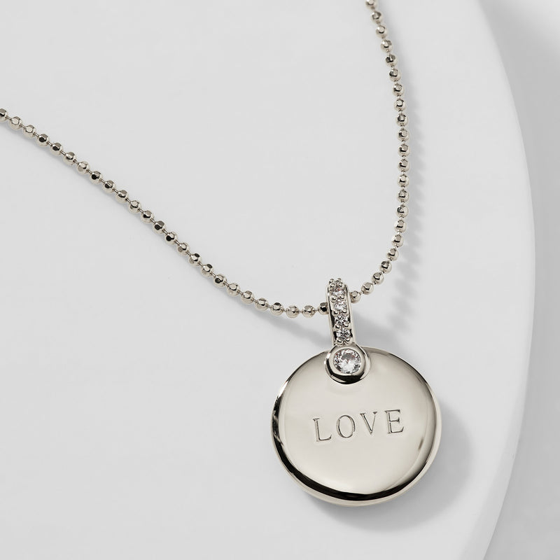 ADORE CZ LOVE MEDALLION PENDANT NECKLACE