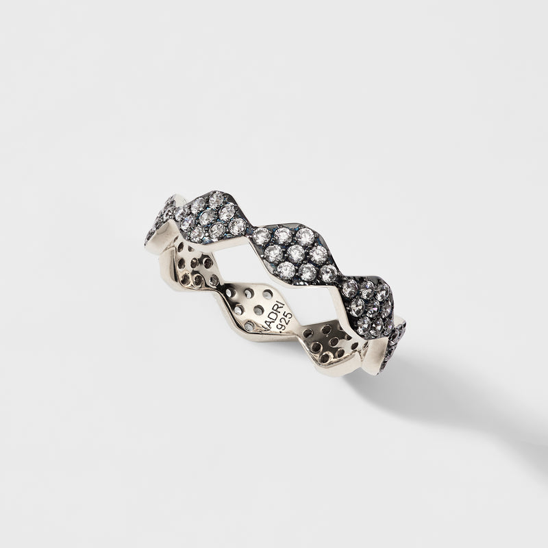 PAVE CZ PATTERN STERLING SILVER RING