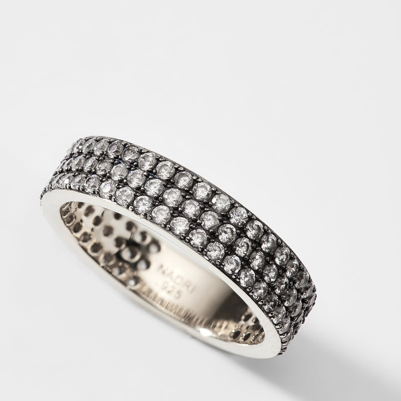 TRIPLE ROW PAVE CZ STERLING SILVER RING