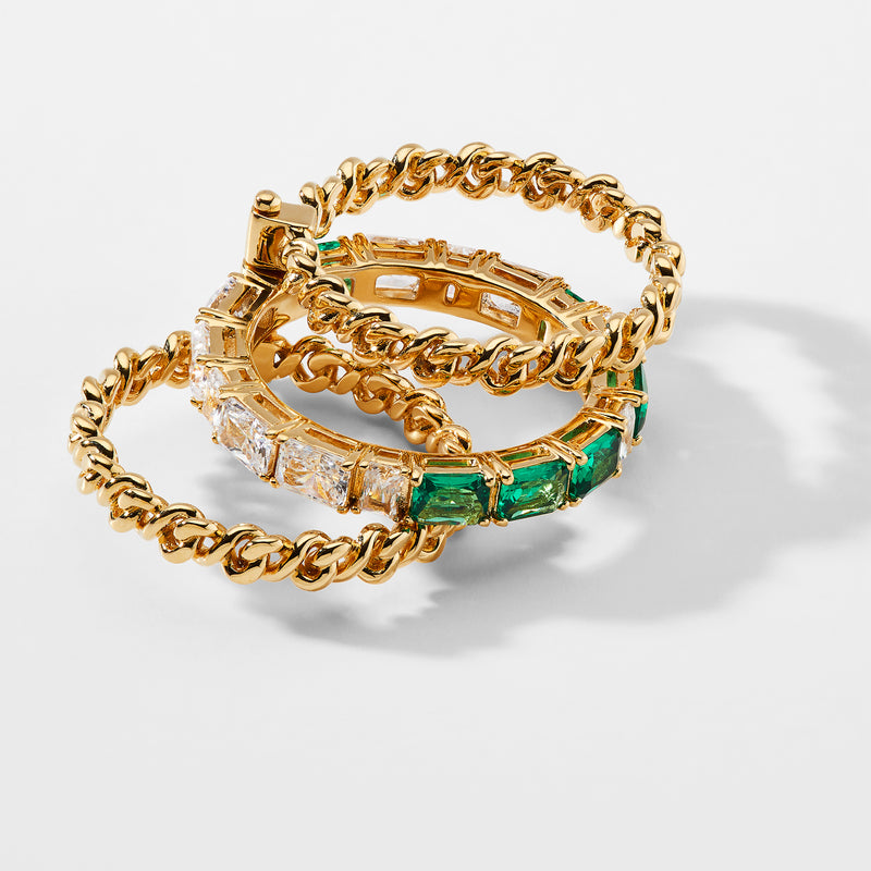 LUX CHAIN PIN HINGE EMERALD AND CZ STACKED RING