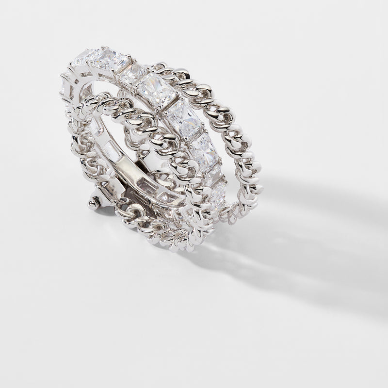 LUX CHAIN PIN HINGE CZ STACKED RING