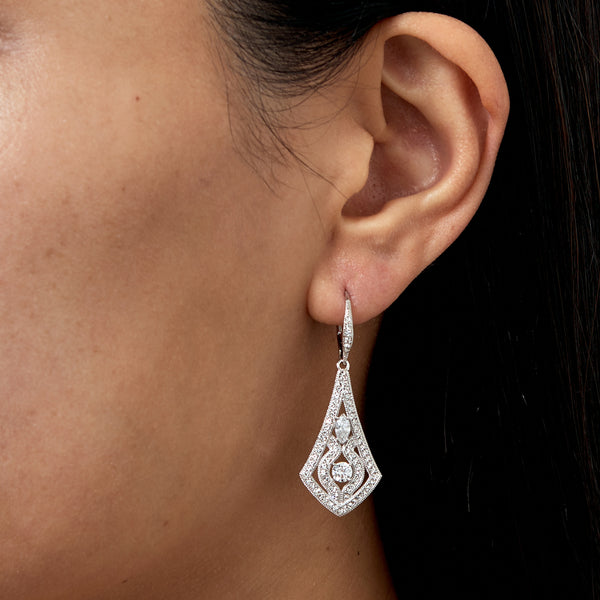 PAVE CZ ORNATE DROP EARRINGS