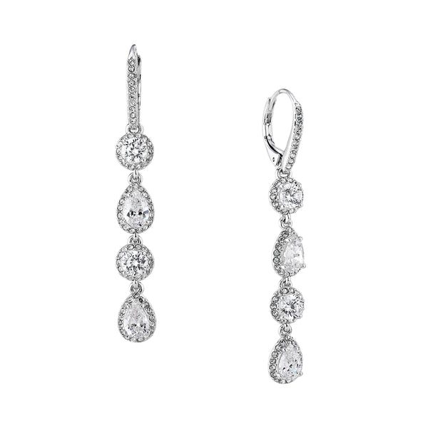 PAVE ROUND AND PEAR LINEAR EARRINGS