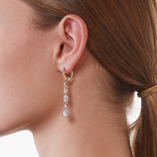 CZ HALO LINEAR LEVERBACK EARRINGS