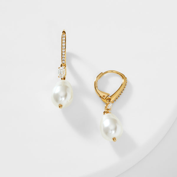 BOHEME LARGE PEARL AND CZ DROP EARRINGS