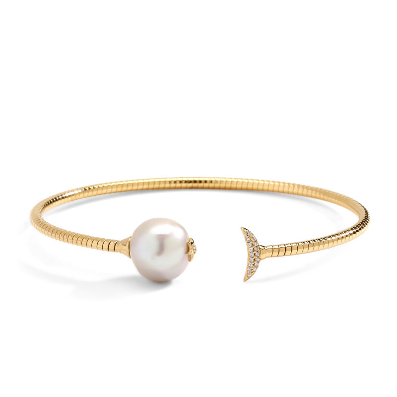 JULIET SILVER FRESHWATER PEARL AND CZ FLEXI CUFF BRACELET