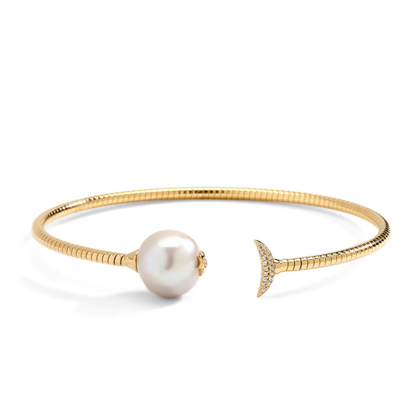 JULIET FRESHWATER PEARL AND CZ FLEXI CUFF BRACELET