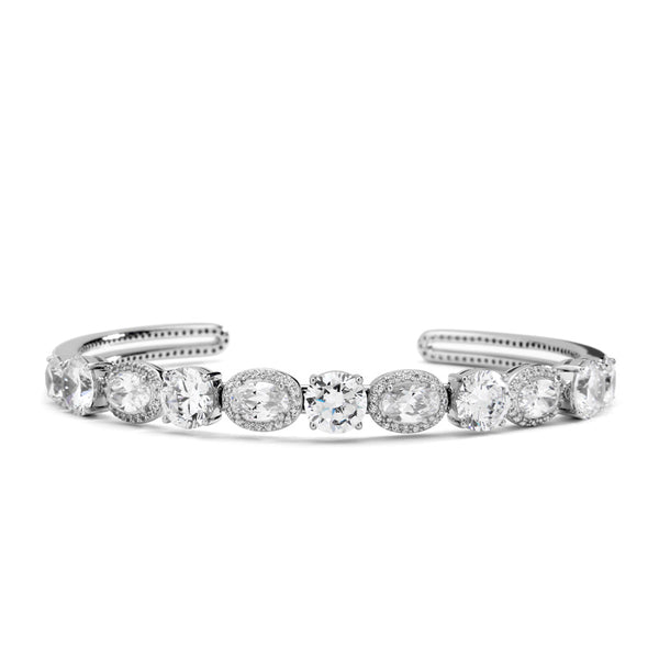 CZ MIXED HALO BOTTOM OPEN CUFF