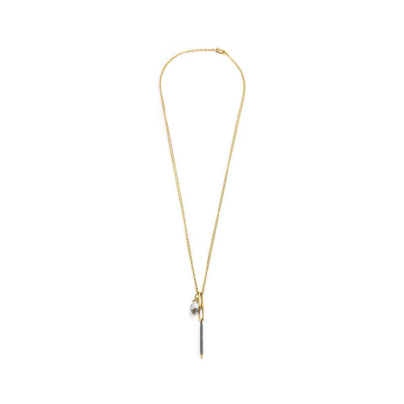 DIAMOND PAVE STICK AND PEARL PENDANT NECKLACE