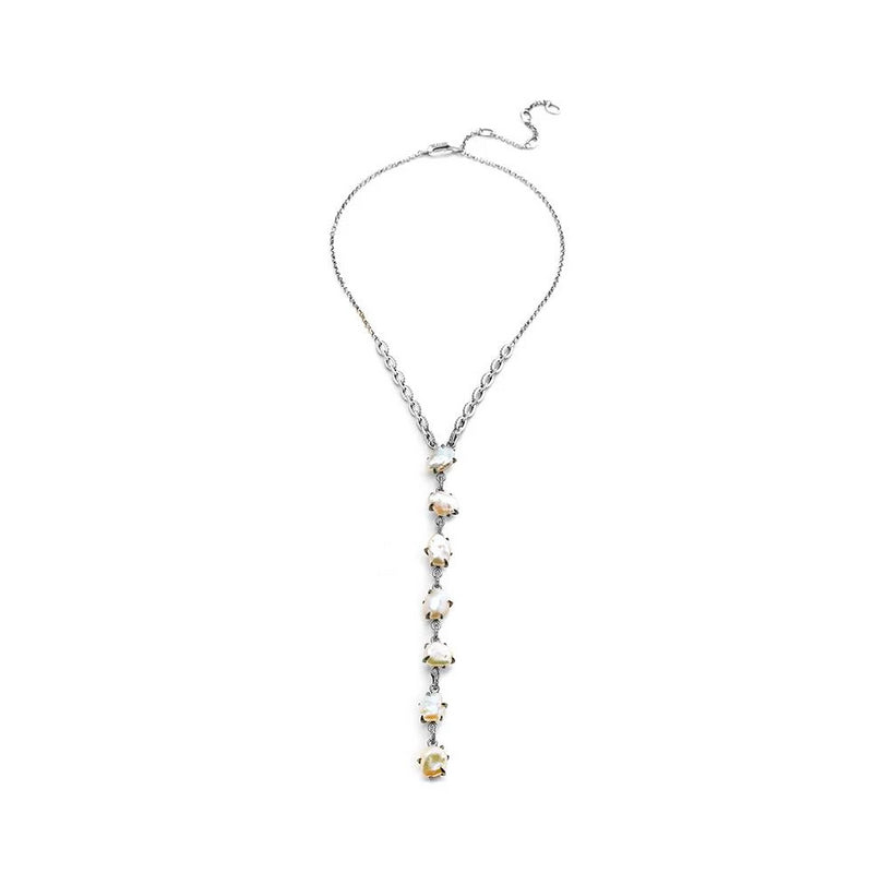 FRESHWATER PEARL AND DIAMOND PAVE Y NECKLACE