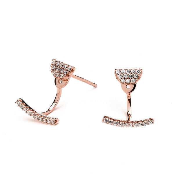 nadri rose gold plated sterling silver swing PAVEcz earrings with jacket