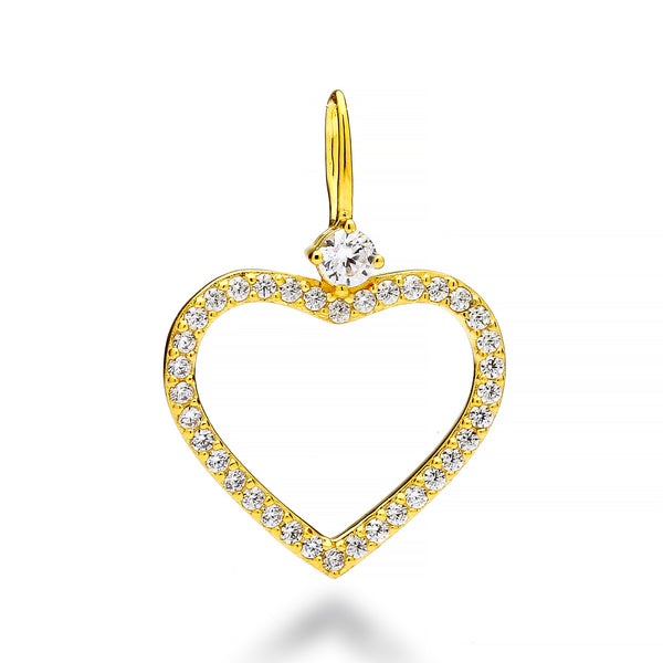 nadri create your own open heart cz 18k gold plated sterling silver charm