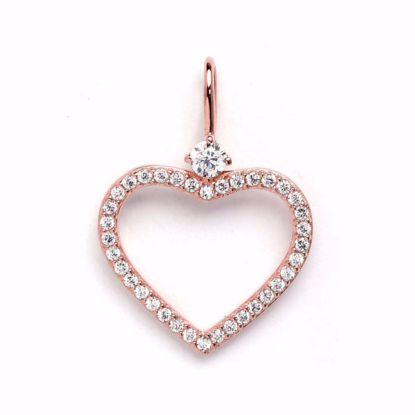 nadri create your own open heart cz rose gold plated sterling silver charm