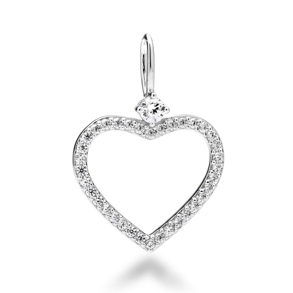 nadri create your own open heart cz rhodium plated sterling silver charm