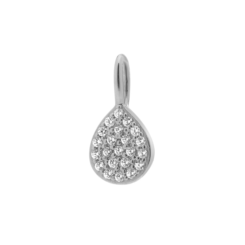 NADRI CHARM RHODIUM SILVER TEAR TEARDROP DROP