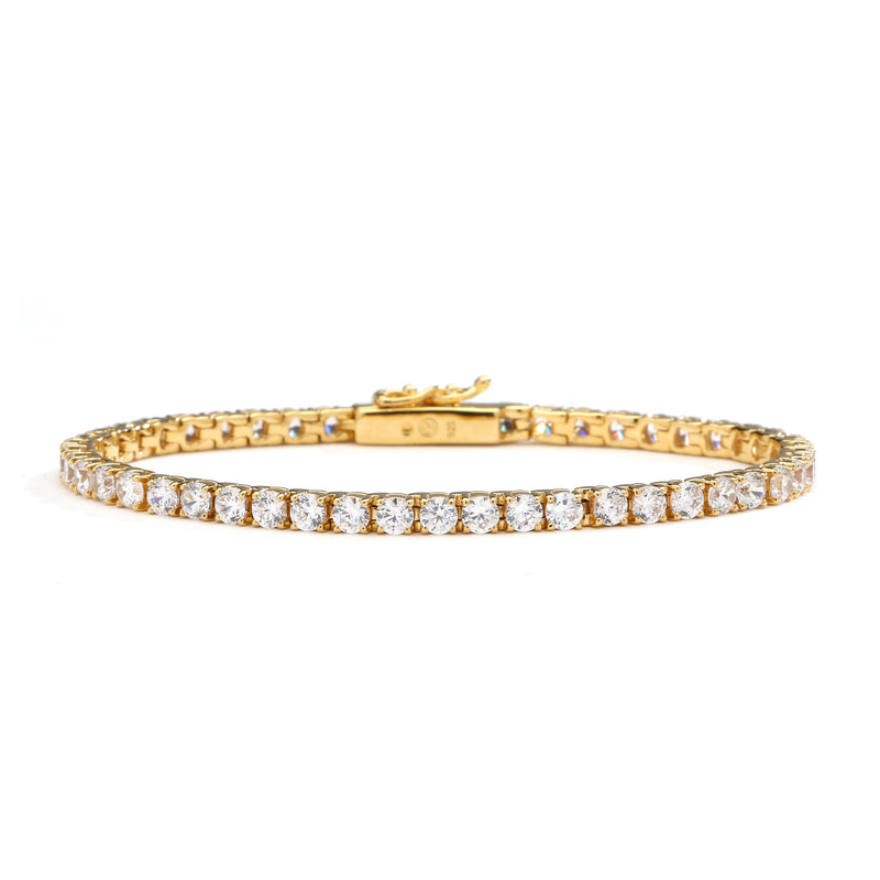 "nadri 18k gold plated sterling silver cz tennis bracelet 6.5"" small"