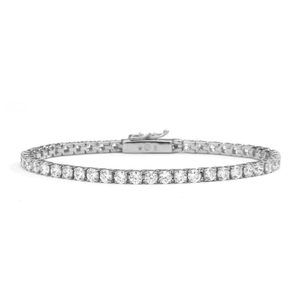 "nadri rhodium plated sterling silver cz tennis bracelet 6.5"" small"