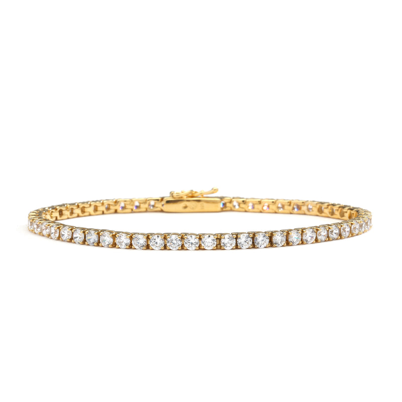 "nadri 18k gold plated sterling silver cz tennis bracelet 7.25"" medium"