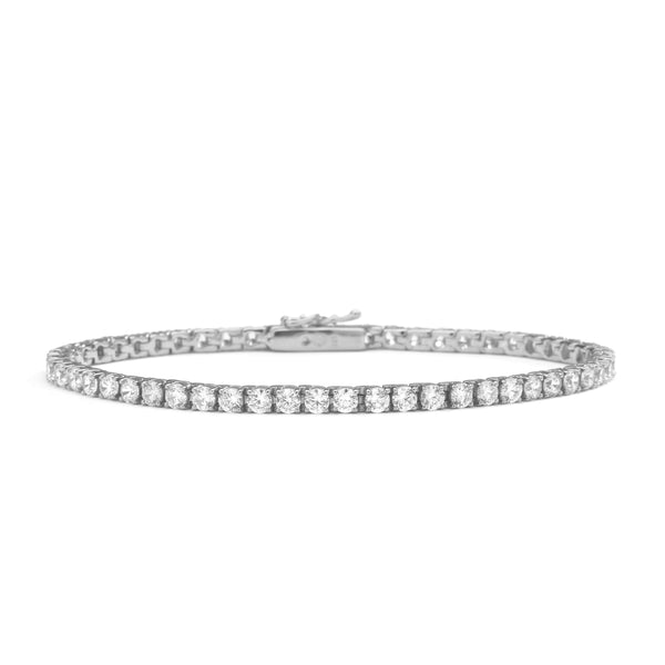 "nadri rhodium plated sterling silver cz tennis bracelet 7.75"" large"
