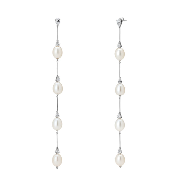 LONG FRESHWATER PEARL & CZ LINEAR EARRINGS