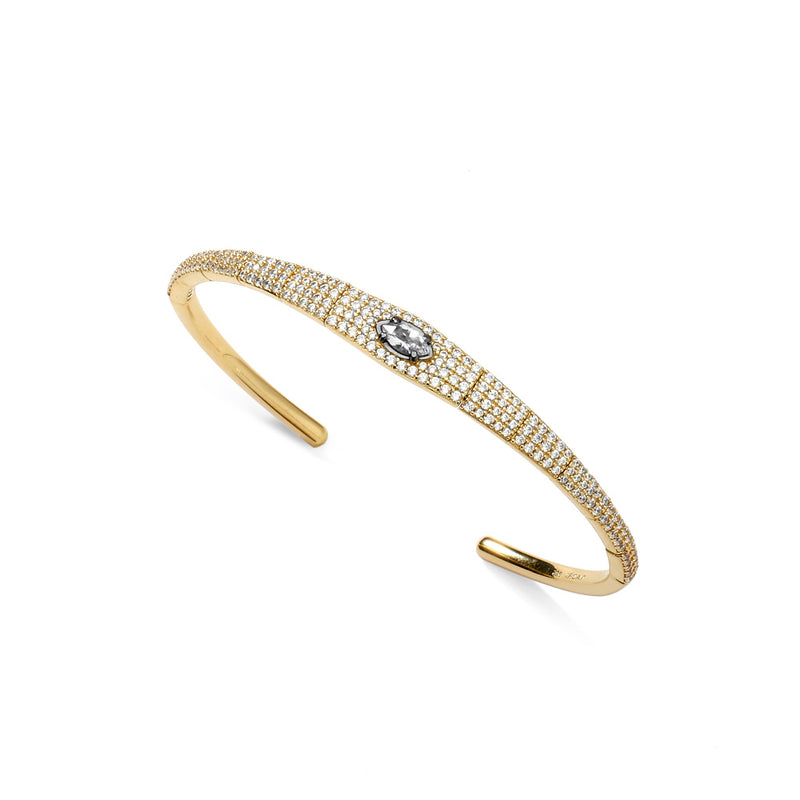 COMO WHITE TOPAZ AND CZ FLEXI CUFF