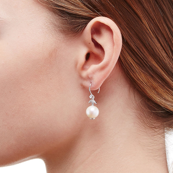 JULIET FRESHWATER PEARL AND CZ SMALL EARRINGS