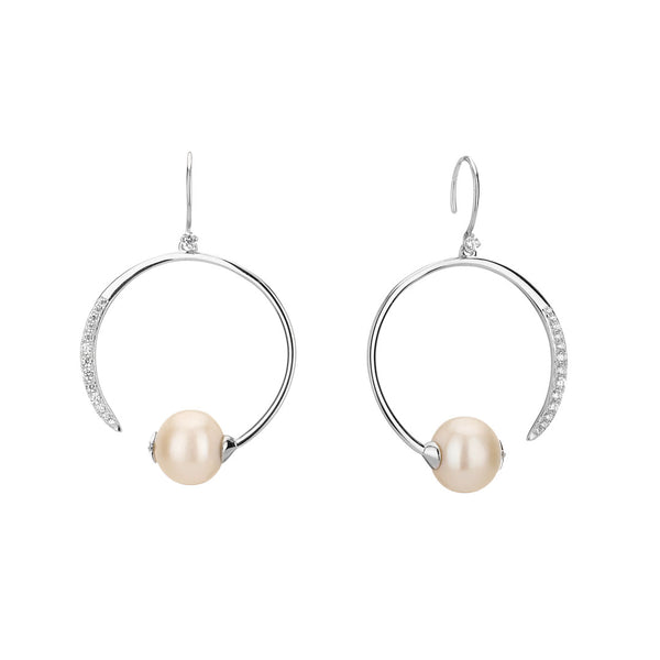 JULIET FRESHWATER PEARL AND CZ ECLIPSE EARRINGS