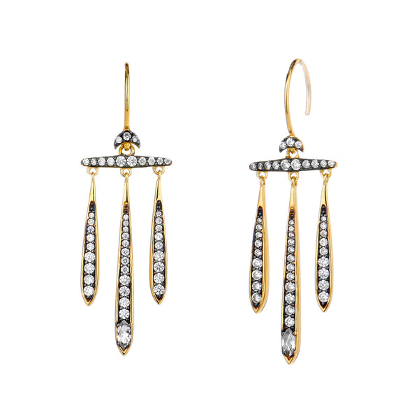 COMO WHITE TOPAZ AND CZ CHANDELIER EARRINGS