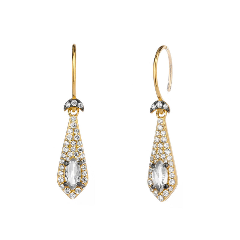 COMO WHITE TOPAZ AND CZ SMALL DROP EARRINGS