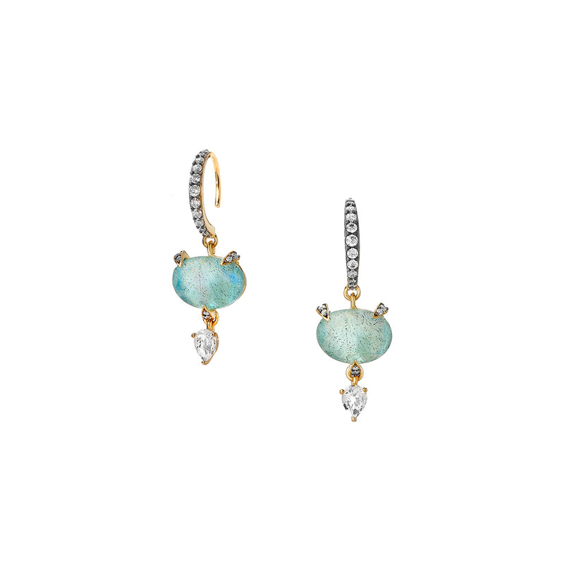 AGEAN GEMSTONE TRIPLET AND WHITE TOPAZ SMALL DROP EARRINGS