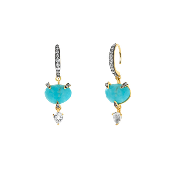 AGEAN TURQUOISE AND WHITE TOPAZ SMALL DROP EARRINGS