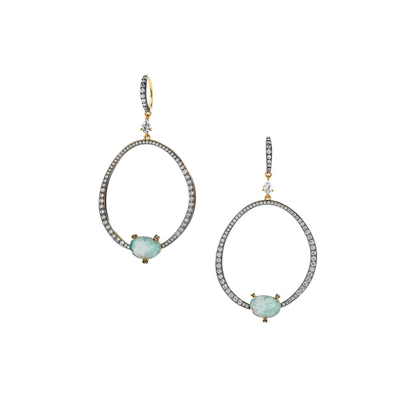 AGEAN GEMSTONE TRIPLET AND WHITE TOPAZ FRONTAL HOOP EARRINGS
