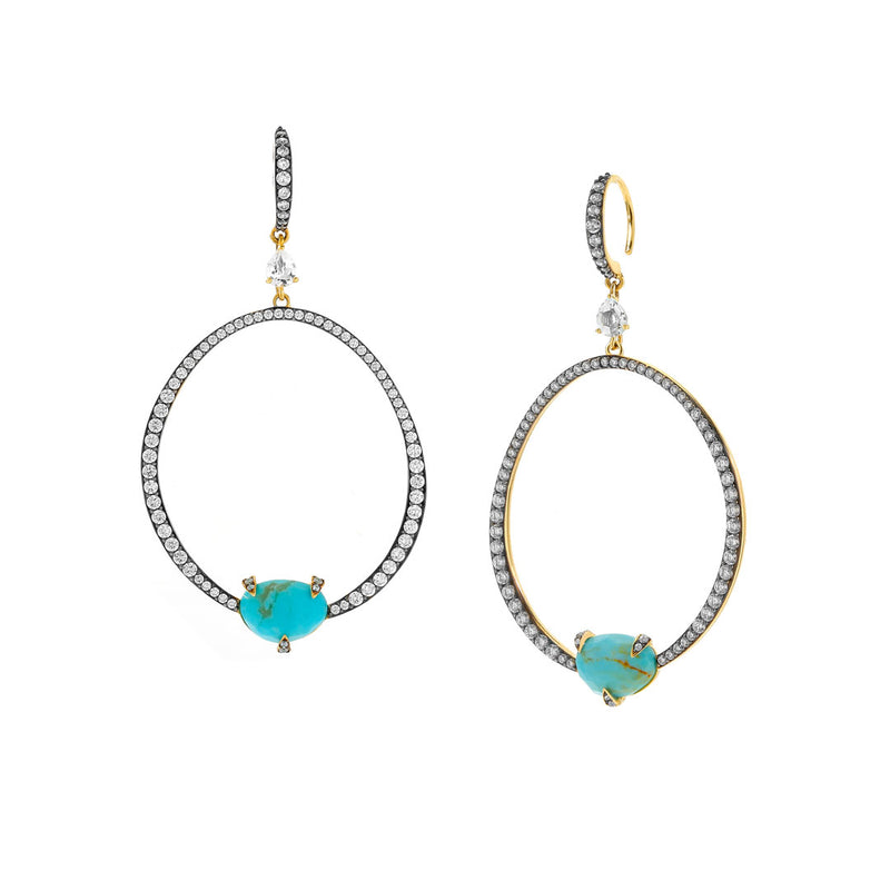 AGEAN TURQUOISE AND WHITE TOPAZ FRONTAL HOOP EARRINGS