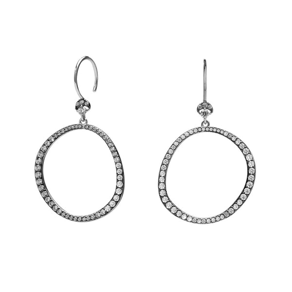 VILLA CZ FRONTAL HOOP WIRE EARRINGS