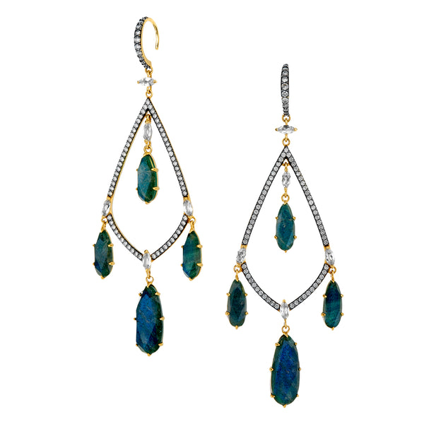 MARI LABRADORITE AND PAVE CZ CHANDELIER EARRINGS