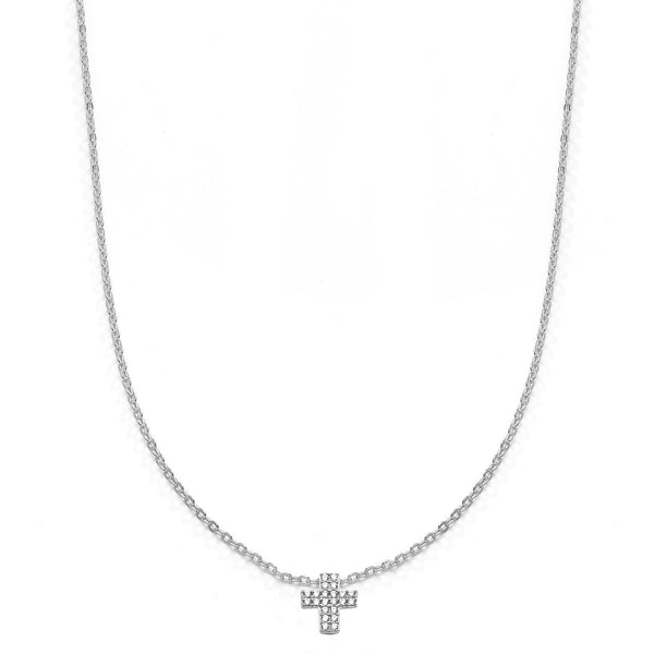 nadri rhodium plated sterling silver petite pave cz cross necklace