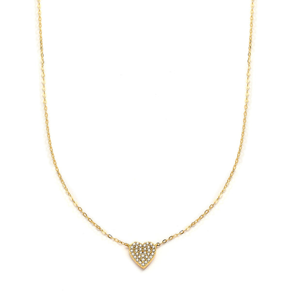 nadri 18k gold plated sterling silver petite pave cz heart necklace