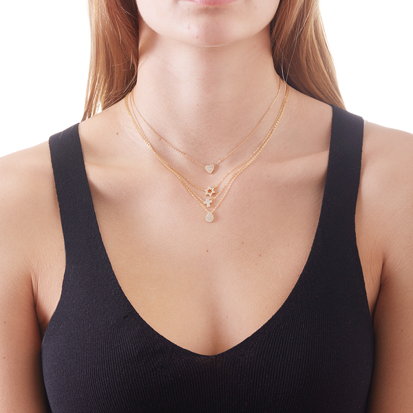 PETITE PAVE HEART NECKLACE - 3 Colors