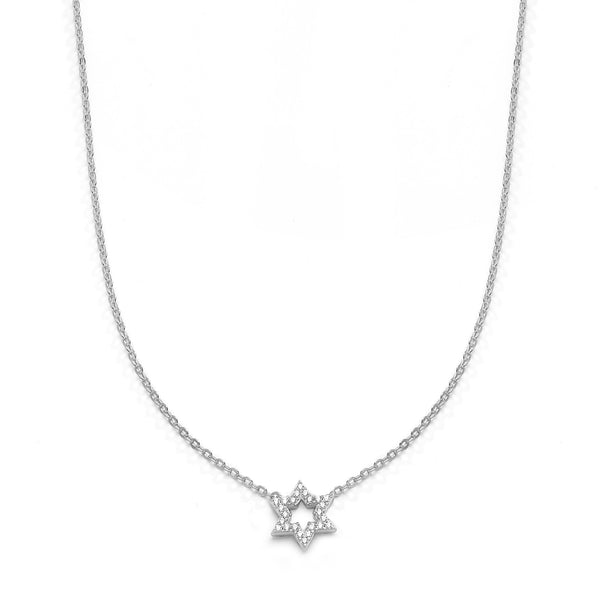 nadri rhodium plated sterling silver petite pave cz star of david necklace