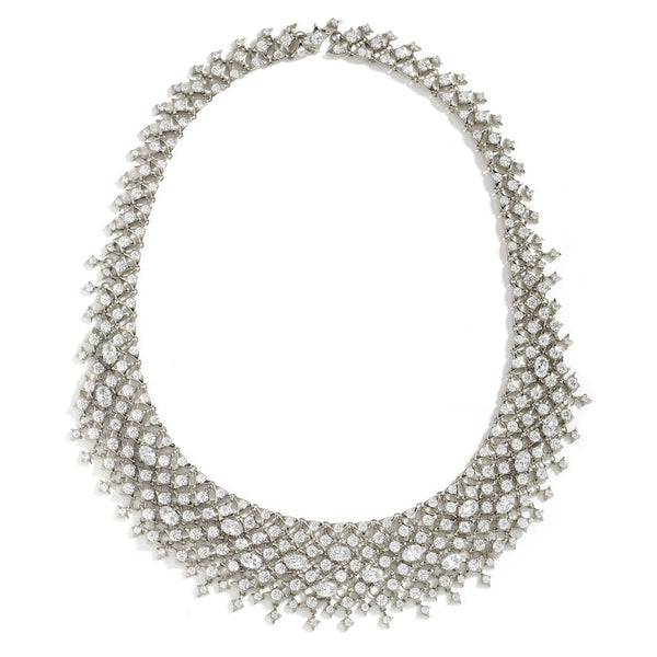 STONE-STUDDED HAND LINKED CHAIN MAIL COLLAR NECKLACE