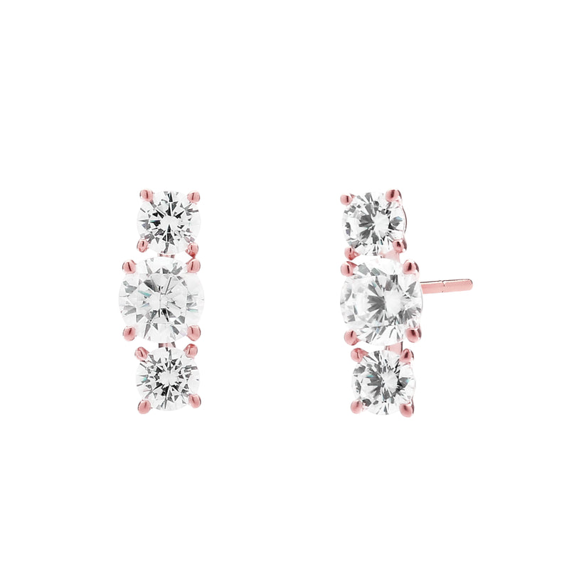 3 STONE ROUND CZ EARRINGS