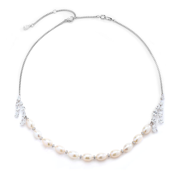 FRESHWATER PEARL & CZ FRONTAL BOLO NECKLACE