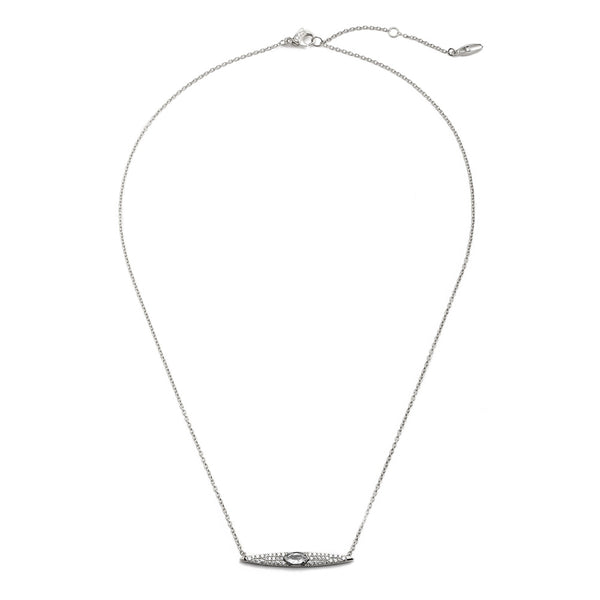 COMO WHITE TOPAZ AND CZ BAR NECKLACE