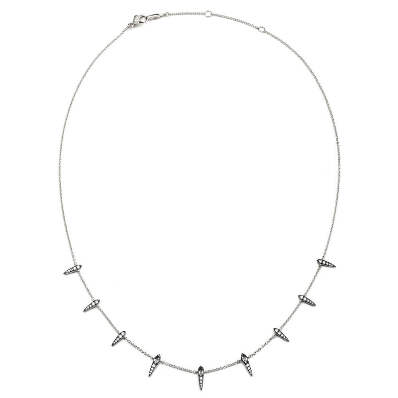COMO WHITE TOPAZ AND CZ SHAKY NECKLACE